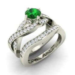 emerald bridal set ring in 14k white gold with diamond 127 cttw - Emerald Wedding Ring