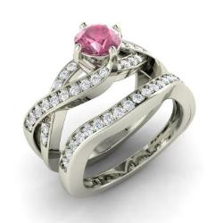 Pink Shire Engagement Ring In 14k White Gold With Si Diamond Oleda