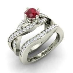 Ruby Bridal Set Ring In 14k White Gold With Diamond Oleda