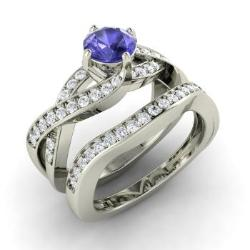 Tanzanite Bridal Set Ring In 14k White Gold With Diamond 1 22 Ct Tw