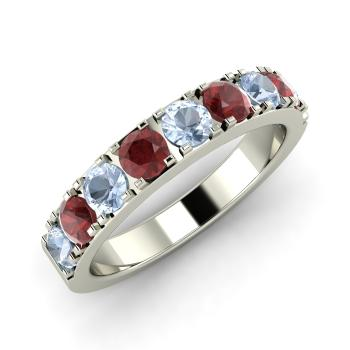 aquamarine and garnet wedding ring in 14k white gold - Aquamarine Wedding Ring