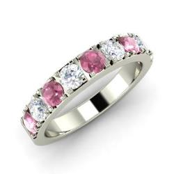 pink sapphire and diamond wedding ring in 14k white gold 112 cttw