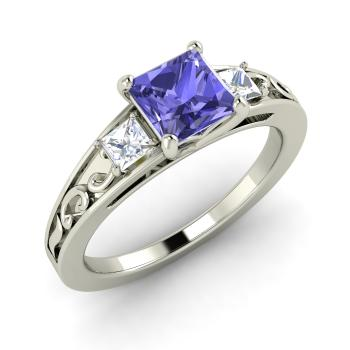 Omega Engagement Ring with Princess cut Tanzanite VS Diamond