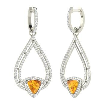 Triangle Cut 14k White Gold Citrine Chandelier Earring With Si Diamond