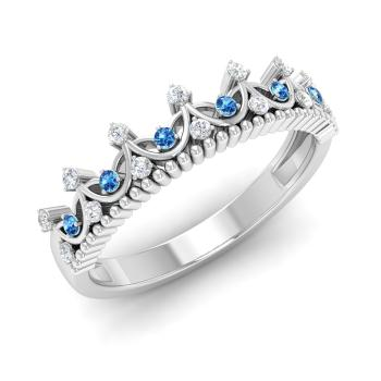 Blue Topaz And Diamond Wedding Ring In Platinum