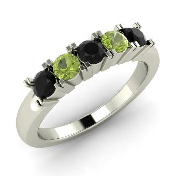 black diamond and peridot wedding ring in 10k white gold - Black Diamond Wedding Rings For Him