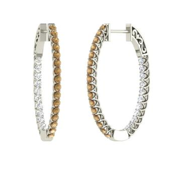 Brown Diamond And Hoops Earring In 14k White Gold