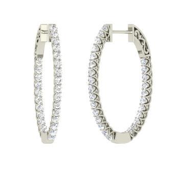 Si Diamond Hoops Earring In Platinum