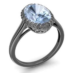Aquamarine Ring In 14k Black Gold Prosper