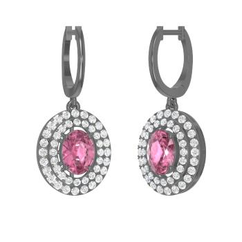 7405a37c2 Quesna Earring with Oval Pink Tourmaline, SI Diamond   3.28 carat ...