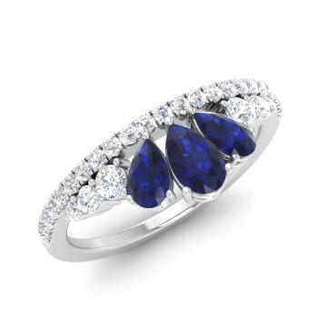 1df36f246867 Pear-Cut Sapphire and I Diamond Sidestone Ring in 14k White Gold