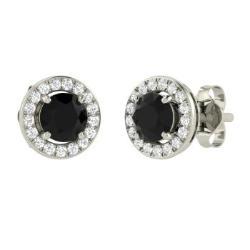Black Diamond And Earrings In 14k White Gold Raeka