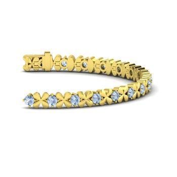 Aquamarine Tennis Bracelet In 18k Yellow Gold