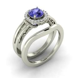 Bridal Ring Set Tanzanite Tanzanite Bridal Rings Diamondere