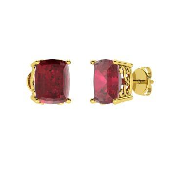 Cushion Cut Ruby Studs Earring In 10k Yellow Gold