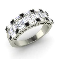 black diamond and vs diamond wedding ring in 14k white gold 157 cttw - Black Diamond Wedding Ring