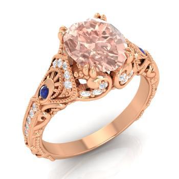 Seban Engagement Ring With Oval Morganite Sapphire Si Diamond