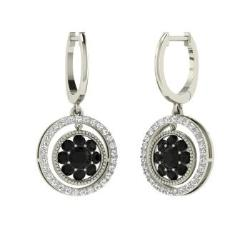earrings diamond black tw carat white gold p