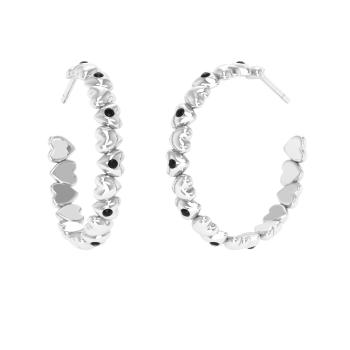 Black Diamond Hoops Earring In Platinum