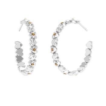 Brown Diamond Hoops Earring In Platinum