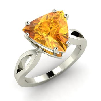 Triangle Cut 14k White Gold Citrine Solitaire Ring
