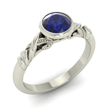 String Engagement Ring With Round Sapphire 0 5 Carat Round