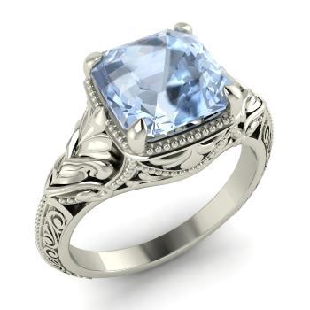 Sunet Engagement Ring With Cushion Cut Aquamarine 2 35 Carat