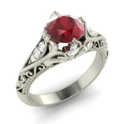 Tangerina ring with round ruby si diamond 142 carat round ruby tangerina junglespirit Image collections