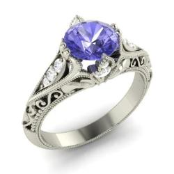 split triangular band ring trillion diamond tanzanite wedding engagement cocktail rings cut