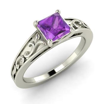 Tashia Ring With Princess Cut Amethyst 0 85 Carat Square
