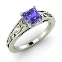 tanzanite engagement ring in 14k white gold 101 cttw tashia - Tanzanite Wedding Rings