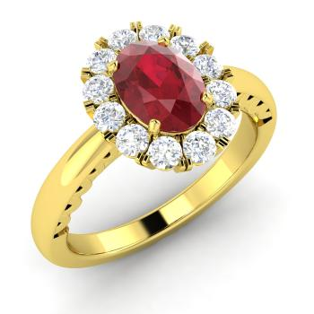 Oval Cut Ruby And Diamond Halo Engagement Ring In 18k Yellow Gold