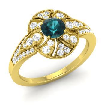 Sincere 1 Carat Blue Diamond Filigree Beautiful Bridal Anniversary Ring 14k Yellow Gold Diamond
