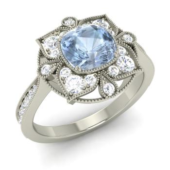 Thea Engagement Ring With Cushion Cut Aquamarine Si Diamond 1 35