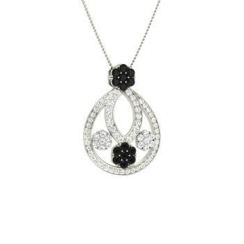 911d08f205a Black Diamond and VVS Diamond Nature Necklace in 14k White Gold