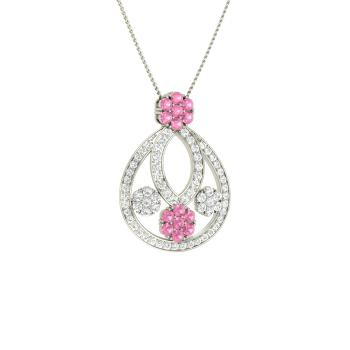 b1f7d019896 Pink Tourmaline and VVS Diamond Nature Necklace in 14k White Gold
