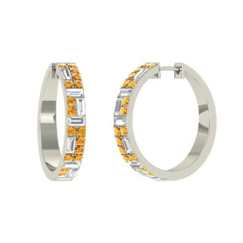 Sterling Silver Citrine Hoops Earring With Vs Diamond