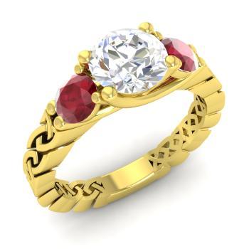 d3c454124 Twist Engagement Ring with Round VVS Diamond, Ruby   1.64 carat ...
