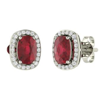Cushion Cut Ruby And Diamond Studs Earring In 14k White Gold