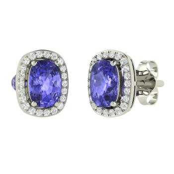 Cushion Cut Tanzanite And Diamond Studs Earring In 14k White Gold