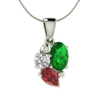 Valencia necklace with oval emerald garnet i diamond 083 oval cut emerald unique necklace in 14k white gold with garnet i diamond mozeypictures Choice Image