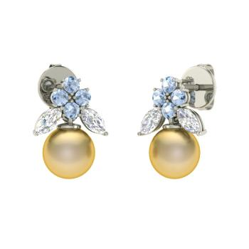 Aquamarine Drops Earring In 14k White Gold With Golden Pearl Vs Diamond