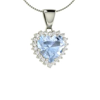 Vance necklace with heart cut aquamarine si diamond 167 carat heart cut aquamarine and diamond heart necklace in 18k white gold aloadofball Image collections