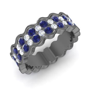 sapphire and diamond wedding ring in 18k black gold - Sapphire And Diamond Wedding Rings