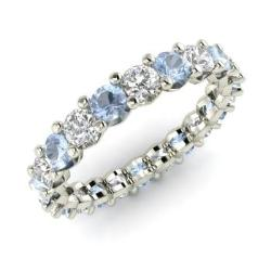 aquamarine and diamond wedding ring in 14k white gold 203 cttw - Aquamarine Wedding Ring