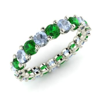 aquamarine and emerald wedding bands ring in platinum - Emerald Wedding Ring