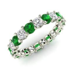 emerald and diamond wedding ring in 14k white gold 223 cttw - Emerald Wedding Ring
