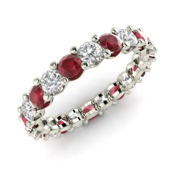 Verity Ring with Round Ruby VS Diamond 254 carat Round Ruby
