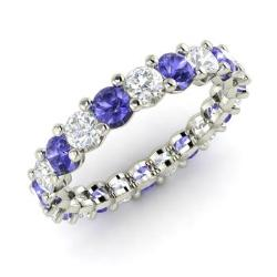 cut tanzanite ring carat brilliant gold rings diamond princess engagement white