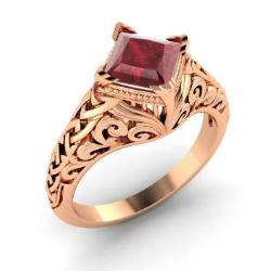 ruby engagement ring in 14k rose gold 098 cttw vesna - Ruby Wedding Rings